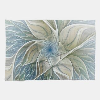 Floral Dream Pattern Abstract Blue Khaki Fractal Tea Towel