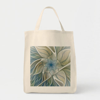 Floral Dream Pattern Abstract Blue Khaki Fractal Tote Bag