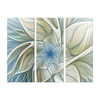 Floral Dream Pattern Abstract Blue Khaki Triptych Canvas Print