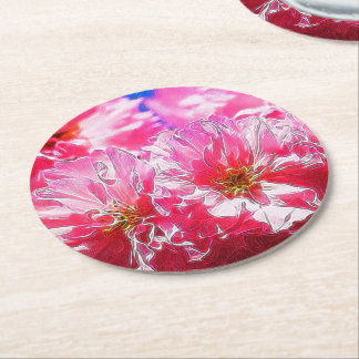 Floral Dreams 03 hot pink Round Paper Coaster