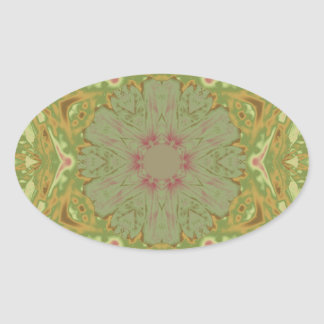 Floral Earth Tones Oval Sticker
