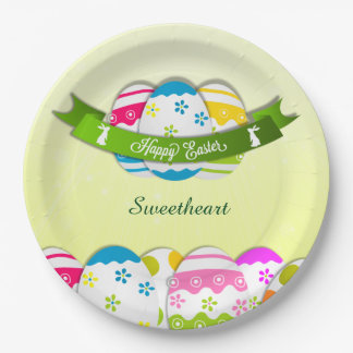 Floral Easter Eggs and Easter Wish 9 Inch Paper Plate