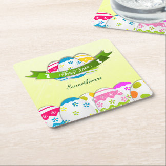 Floral Easter Eggs and Easter Wish Square Paper Coaster