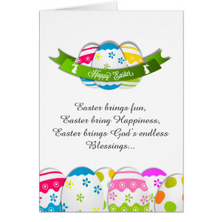 Floral Easter Eggs and Easter Wishes Card