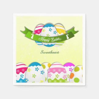 Floral Easter Eggs and Easter Wishes Disposable Napkin