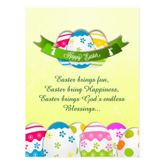 Floral Easter Eggs and Easter Wishes Postcard