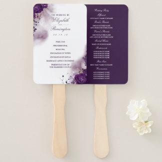 Floral Eggplant Purple Watercolor Wedding Program Hand Fan