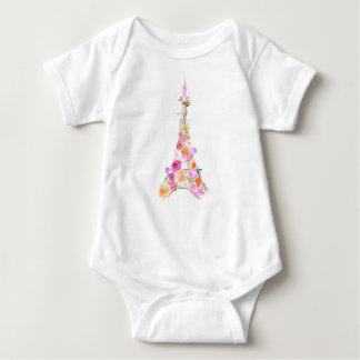 Floral eiffel tower baby bodysuit