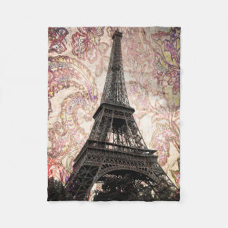 Floral Eiffel Tower Fleece Blanket
