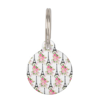 Floral Eiffel Tower Pet Tag