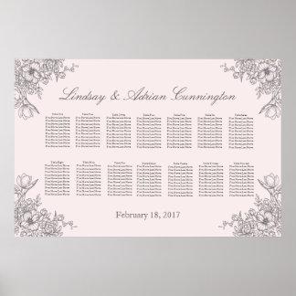 Floral Elegance Wedding Seating Chart Poster