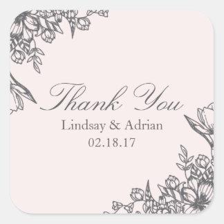 Floral Elegance Wedding Thank You Sticker