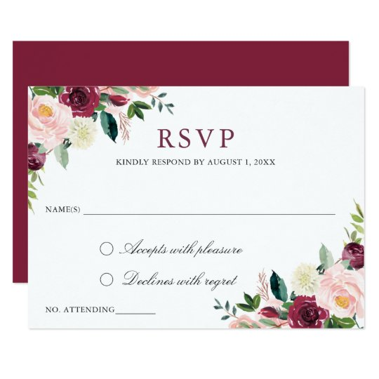 Floral Elegant Wedding RSVP Respond Card Modern