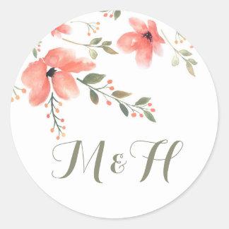 Floral Elegant Wedding Stickers-Watercolor Flowers Round Sticker
