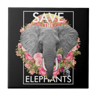 floral elephant Ceramic Photo Tile