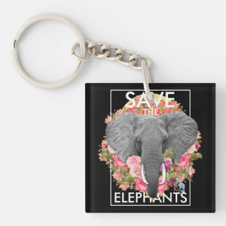 Floral Elephant Double-Sided Square Acrylic Key Ring