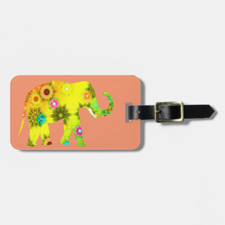 Floral, Elephant, Funny, Colorful Luggage Tag