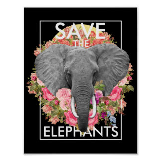 floral elephant poster