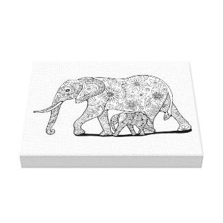 Floral Elephants Line Art Design Canvas Print