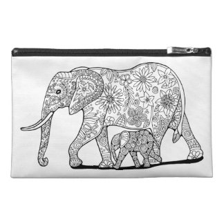 Floral Elephants Travel Accessory Bag