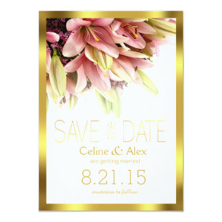 """Floral Embrace Pink Calla Lilies Save the Date 4.5"""" X 6.25"""" Invitation Card"""
