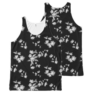 Floral embroidery All-Over print singlet