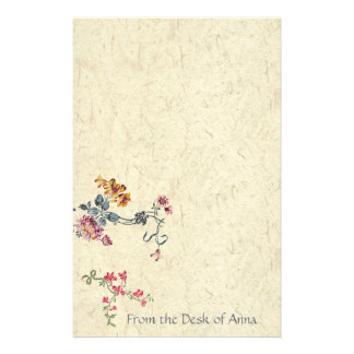 Floral Embroidery Faux Handmade Paper Stationery
