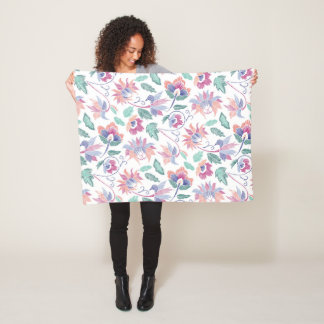 Floral embroidery fleece blanket