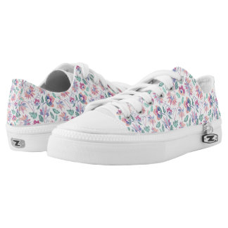 Floral embroidery low tops