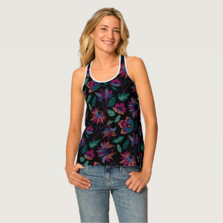 Floral embroidery singlet