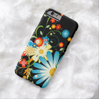 Floral Explosion of Color on Black Barely There iPhone 6 Case