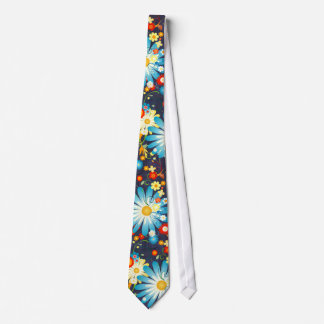 Floral Explosion of Color on Blue Tie
