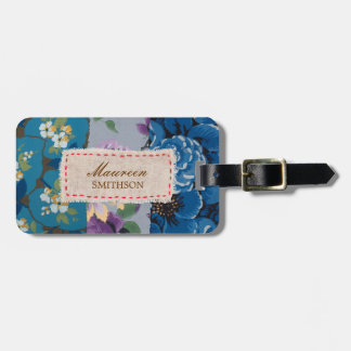Floral Fabric Patchwork (Blue) Personalized Luggage Tag