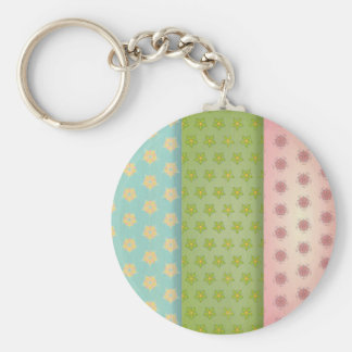 Floral fabric patchwork retro trendy girly shabby keychain