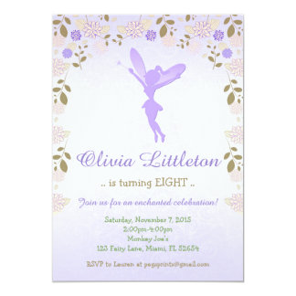 Floral Fairy Birthday Invitation - Purple Fairy