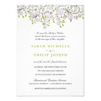 """Floral Fancy Swirls Formal Wedding Invitations 5.5"""" X 7.5"""" Invitation Card"""