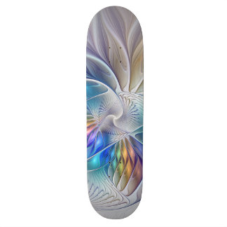 Floral Fantasy, abstract and modern Fractal Art Skateboard