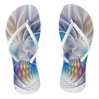 Floral Fantasy, Colorful Abstract Fractal Flower Thongs