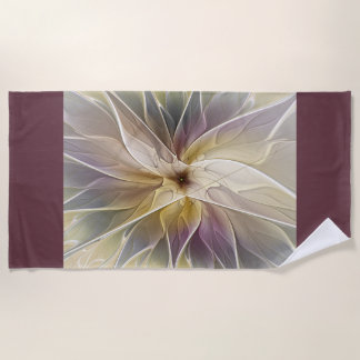 Floral Fantasy Gold Aubergine Abstract Fractal Art Beach Towel