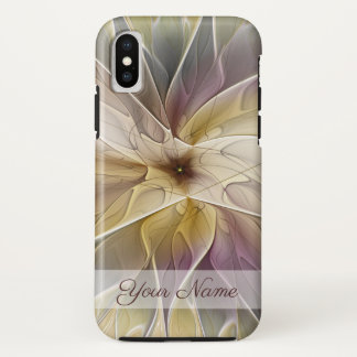 Floral Fantasy Gold Aubergine Fractal Art Name iPhone X Case