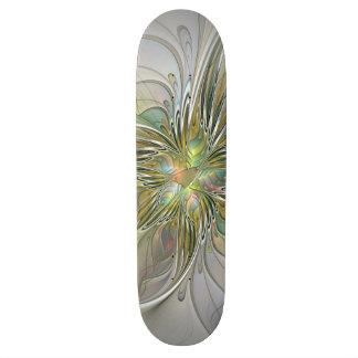 Floral Fantasy Modern Fractal Art Flower With Gold 20 Cm Skateboard Deck