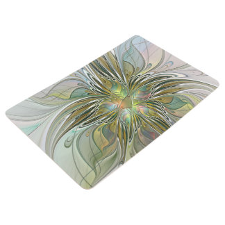 Floral Fantasy Modern Fractal Art Flower With Gold Floor Mat
