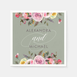 Floral Fantasy | Modern Watercolor Wedding Disposable Napkin