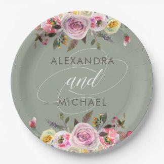 Floral Fantasy | Modern Watercolor Wedding Paper Plate