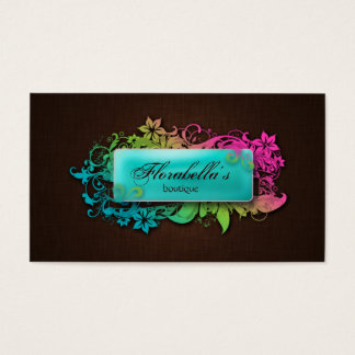 Floral Fashion Linen Blue Brown Business Card