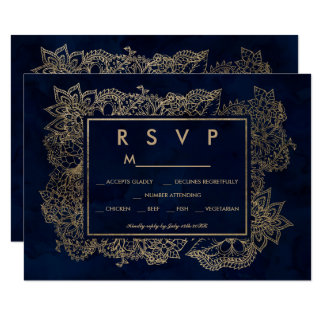 Floral faux gold navy watercolor RSVP wedding Card