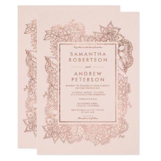 Floral faux rose gold blush pink wedding card