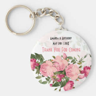 Floral favours-thank you gift basic round button key ring