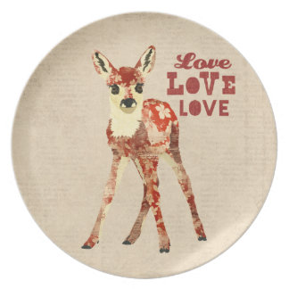 Floral Fawn Love Plate