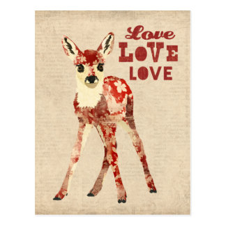 Floral Fawn Love Postcard